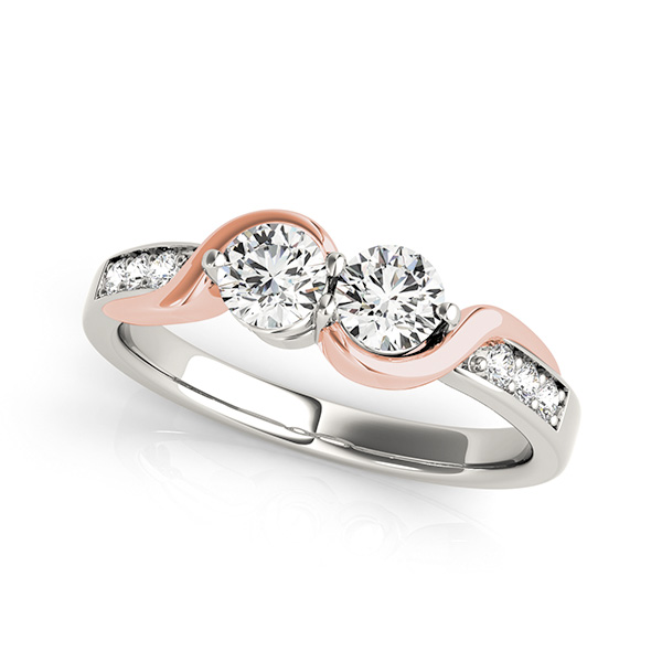 & White Gold Two Stone Engagement Ring
