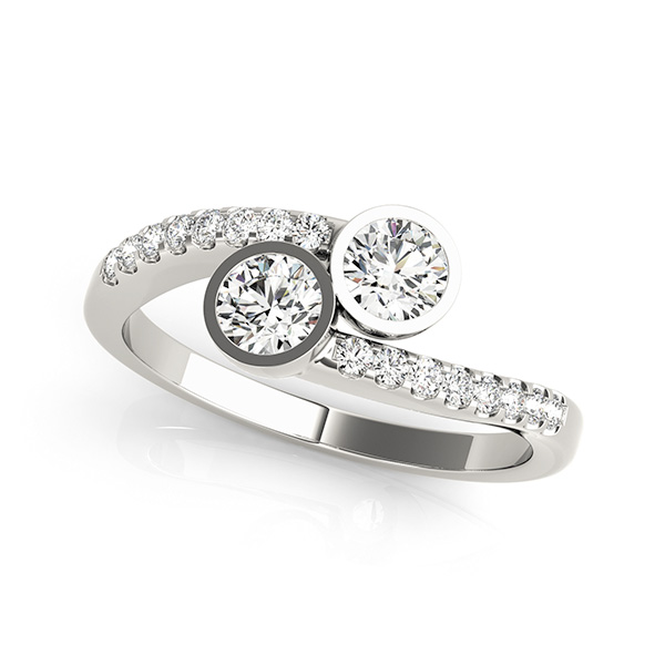 Bezel Set Two Stone Engagement Ring