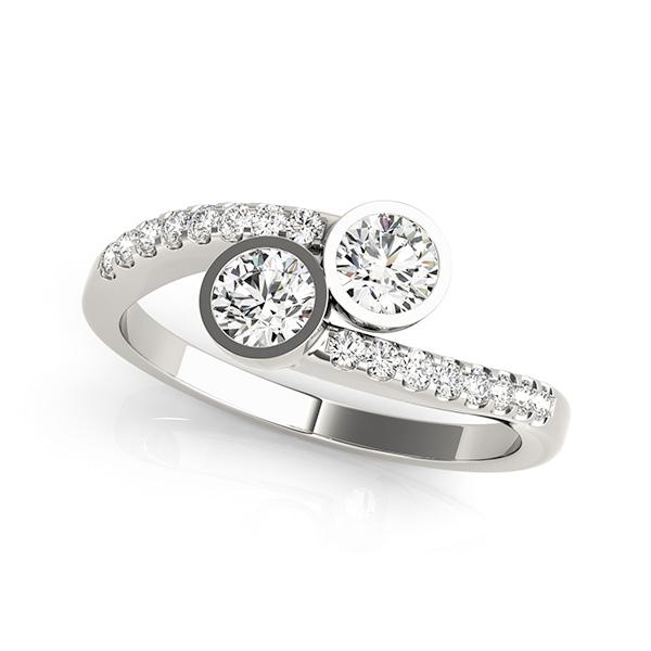 Bezel Set Two Stone Engagement Ring