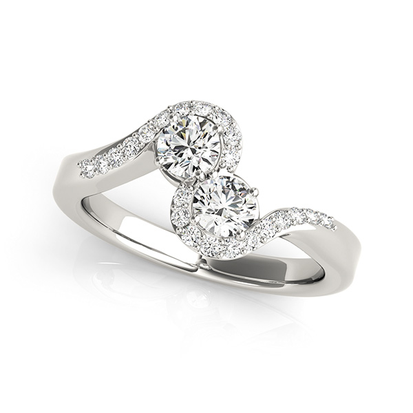Italian Style Two Stone Engagement Ring