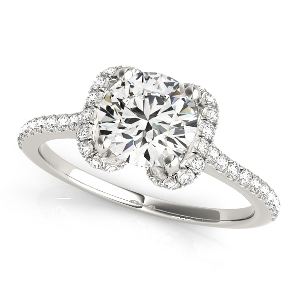 Unique Heart Semi Bezel Round Halo Diamond Engagement Ring