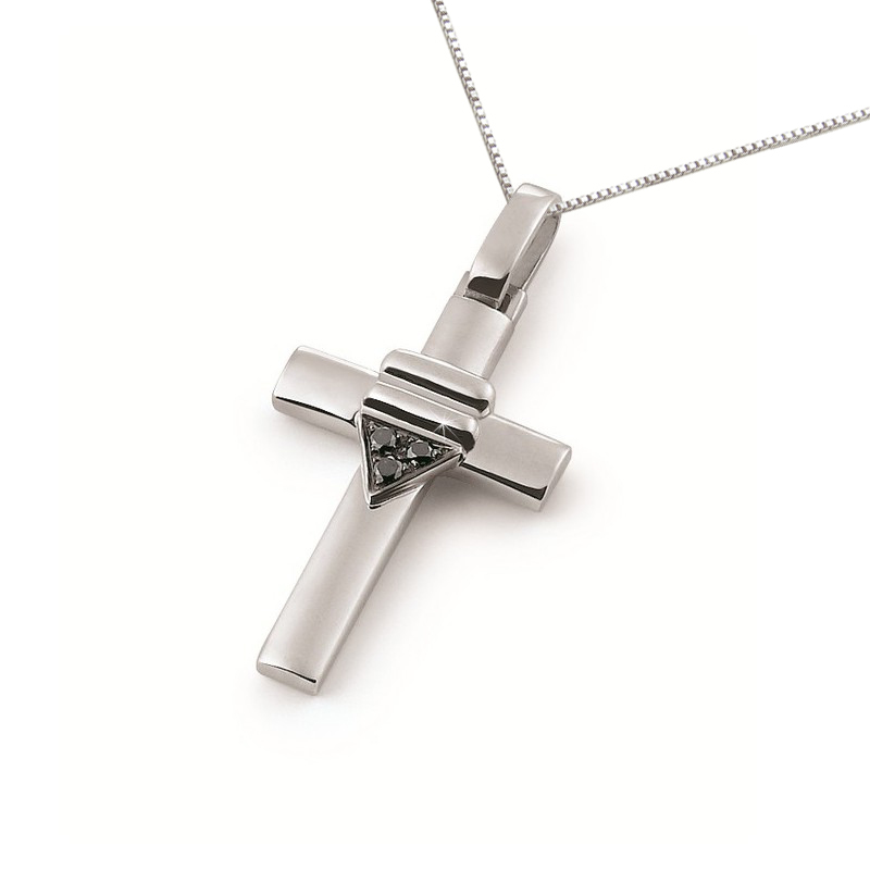 Italian 18 Karat Gold Cross Necklace with Diamonds