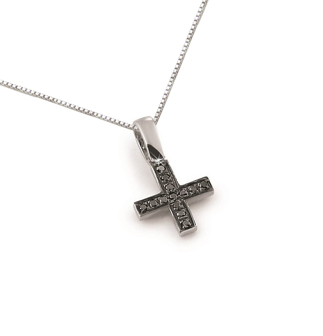 Black Diamond Square Cross Pendant Necklace 18K White Gold