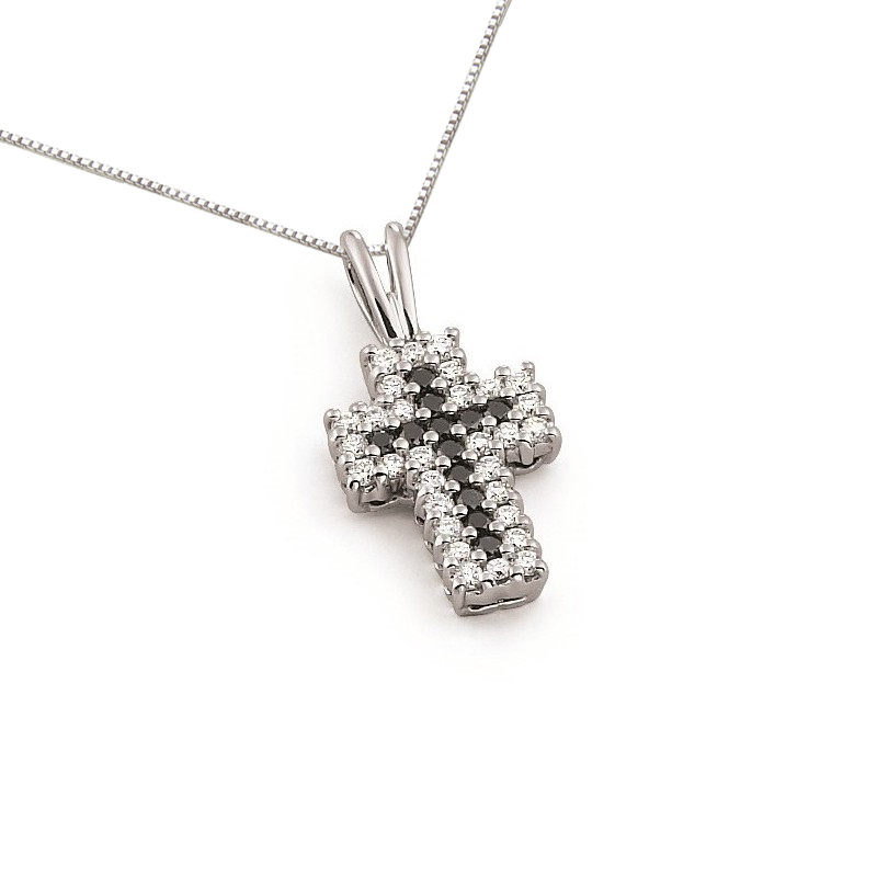 Black & White Diamond Cross Pendant Necklace