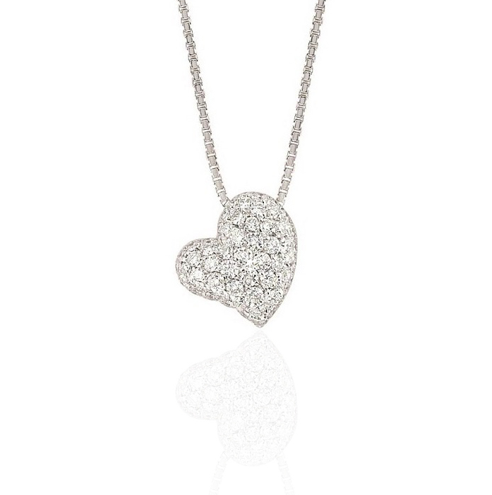 0.71CT Diamond Heart Pendant Necklace