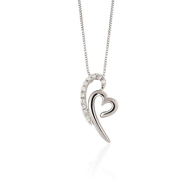 Double Heart Pendant Necklace 18K Gold