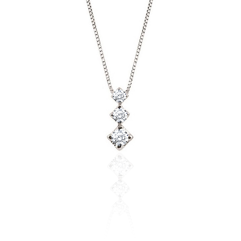 3 Stone Diamond Necklace 1/3 CT
