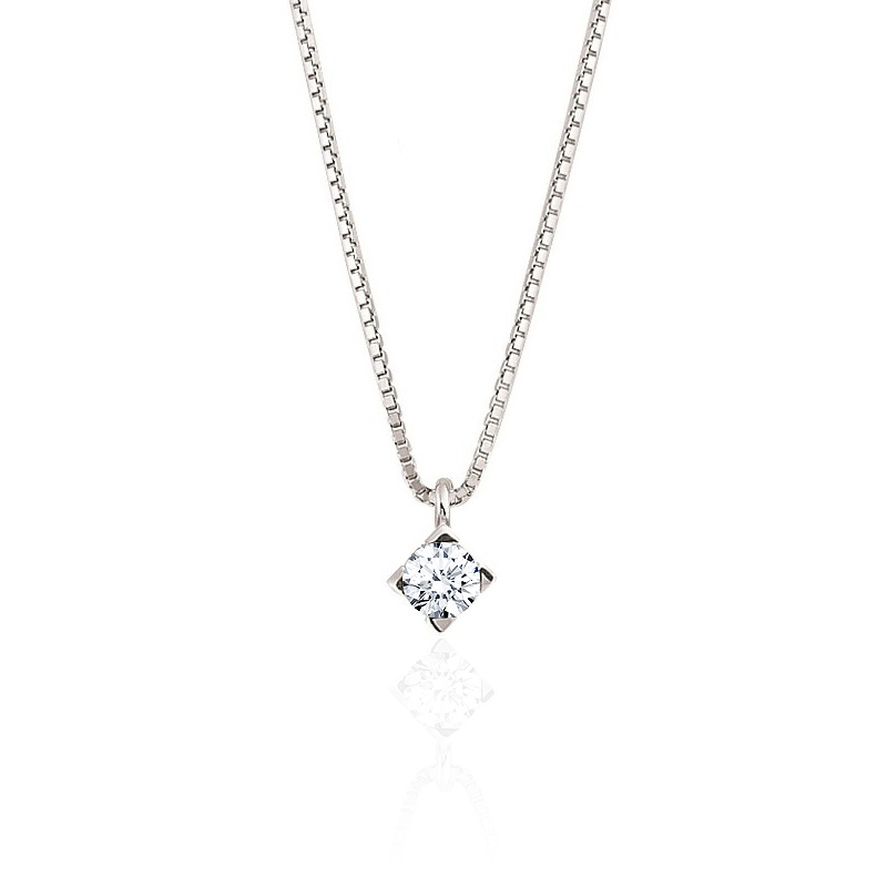 0.15CT Solitaire Diamond Pendant Necklace