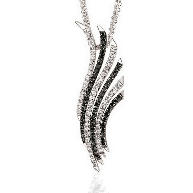 Flamingo Black White Diamond Necklace