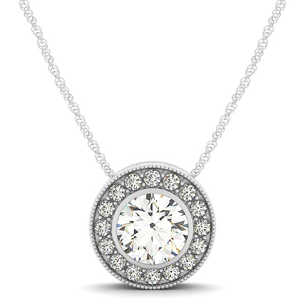 Circle Halo with Round Bezel Diamond Pendant Necklace