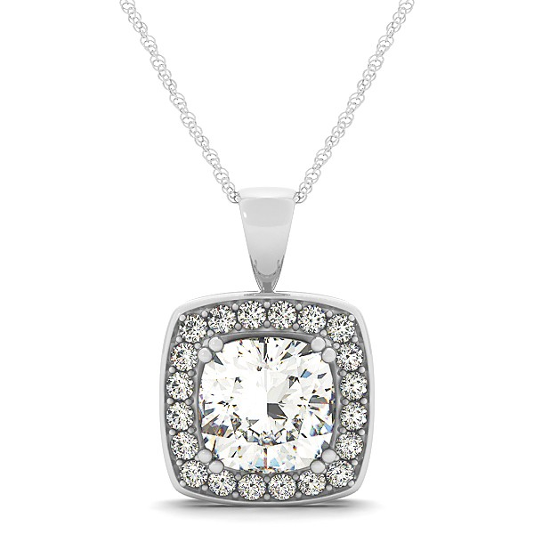 Attractive G-H Cushion Diamond Halo Necklace