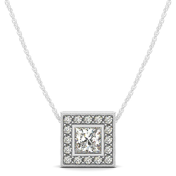 Vintage Square Diamond Halo Necklace