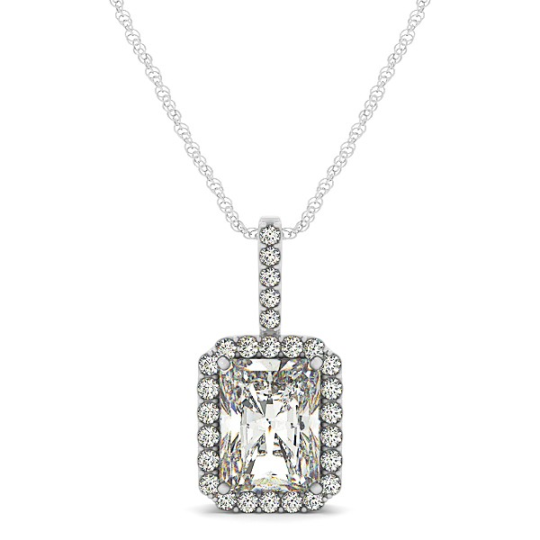 Halo Emerald Cut Diamond Necklace in White Gold