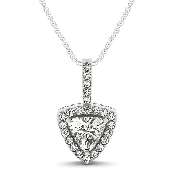 Trillion Cut Diamond Pendant Halo Necklace White Gold