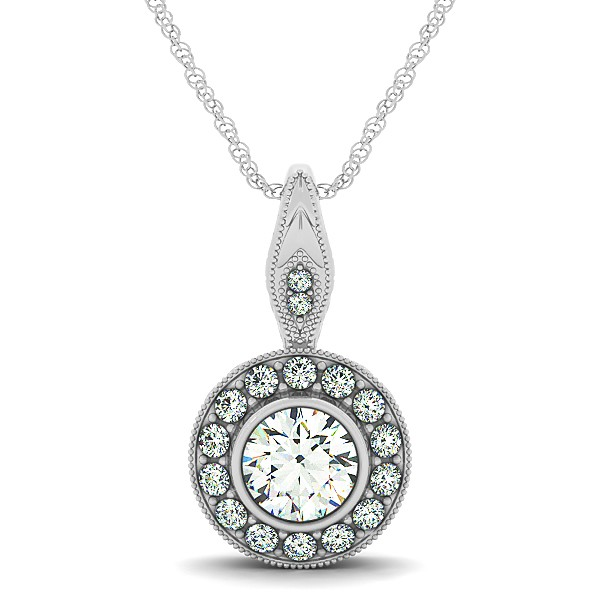Diamond necklace with round halo circle pendant vintage diamond necklace with round halo circle pendant mozeypictures Image collections