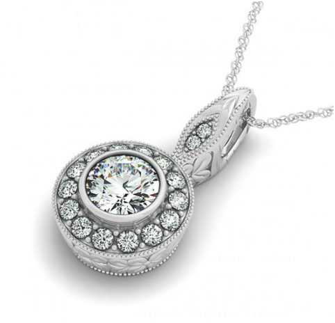 Vintage diamond necklace with round halo circle pendant click to view all diamond necklaces mozeypictures Image collections