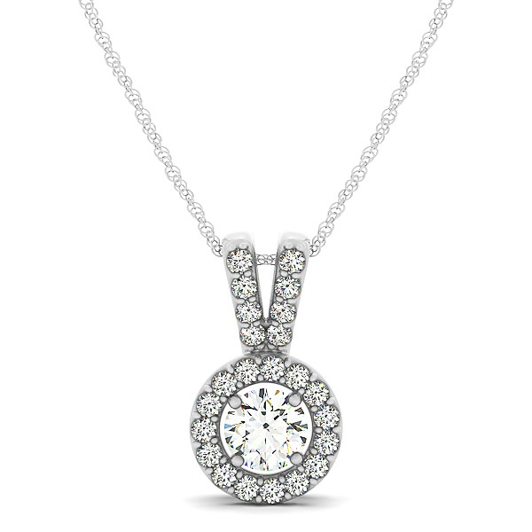 Avant-Garde Round Halo Diamond Necklace