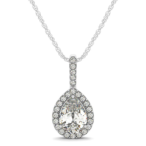 pear shaped halo necklace