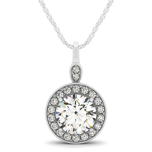 Halo Drop Round Cut Diamond Necklace