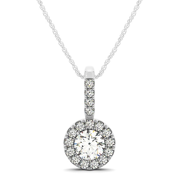 Circle Halo Round Cut Diamond Pendant & Necklace