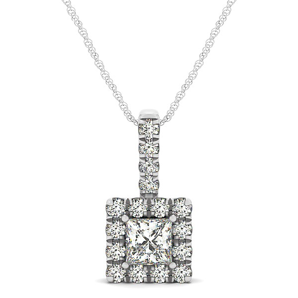 Upscale Square Drop Halo Necklace with Princess Cut Diamond