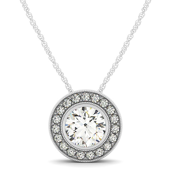 Classy circle halo necklace with round diamond pendant aloadofball Gallery
