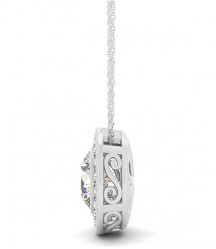 Classy circle halo necklace with round diamond pendant click to view all diamond necklaces aloadofball Choice Image
