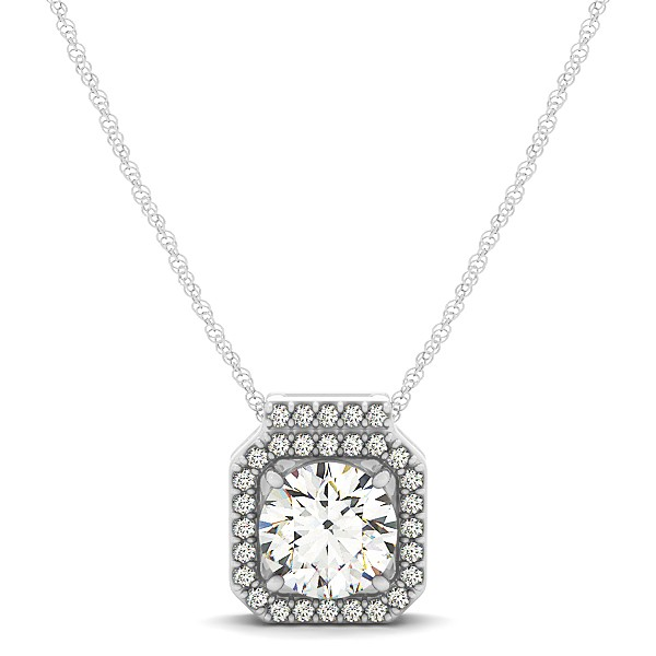 Halo necklace with round cut diamond pendant square halo necklace with round cut diamond pendant aloadofball Image collections
