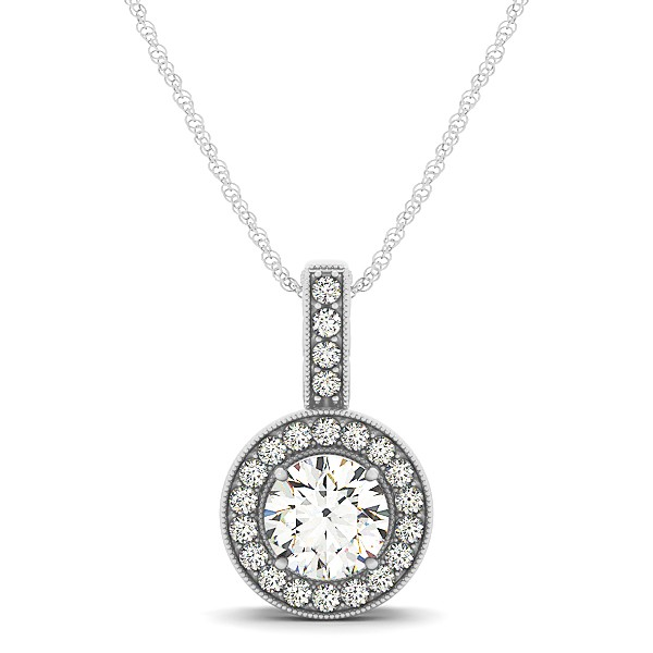 Vintage Circle Halo Necklace Round Diamond Pendant