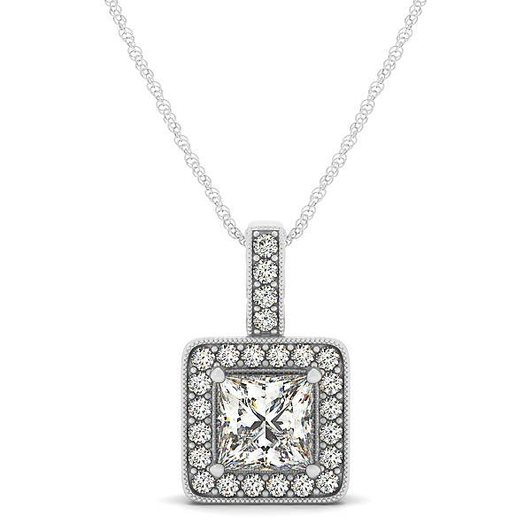 Square Diamond Halo Necklace in Gold or Sterling Silver