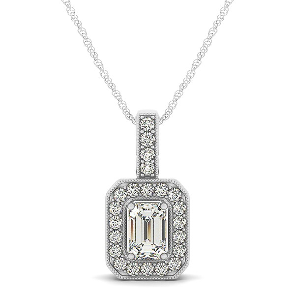 Vintage Emerald Cut Diamond Pendant Necklace