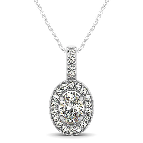 Vintage Oval Cut Diamond Pendant Necklace