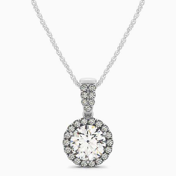 Gorgeous Drop Halo Necklace Round Cut Diamond VS1