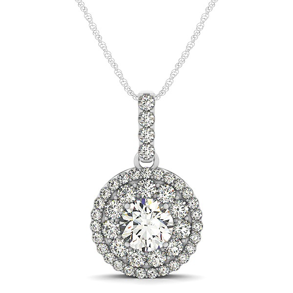 Circle Diamond Pendant Necklace with Twin Halo