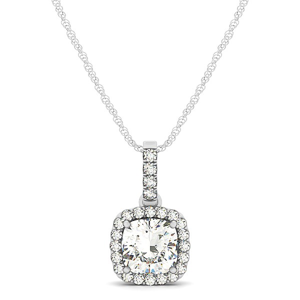 Square Cushion Diamond Halo Pendant Necklace