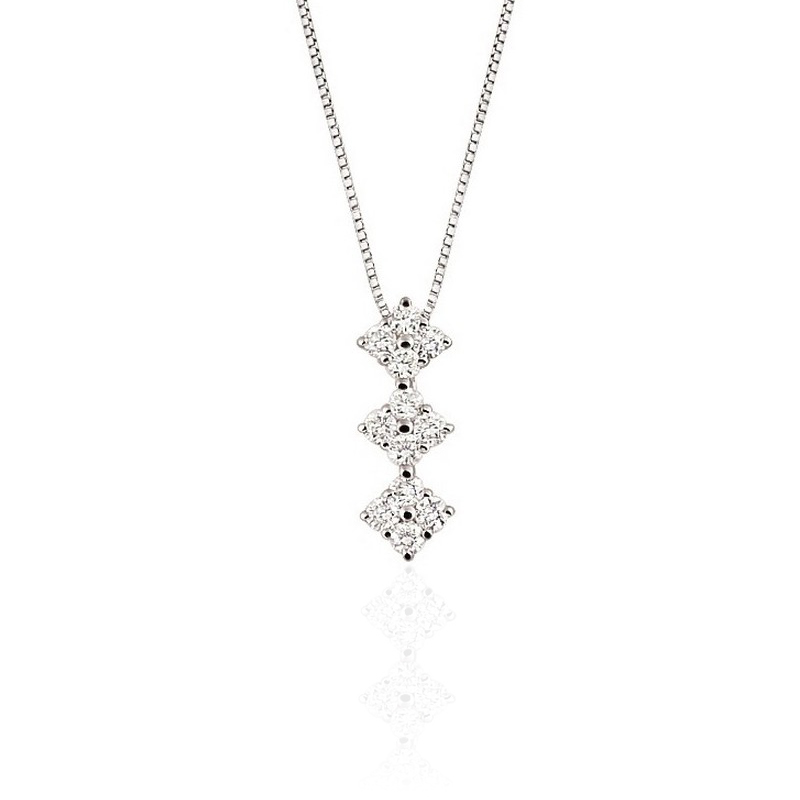 Trilogy Diamond Pendant Necklace from Italy