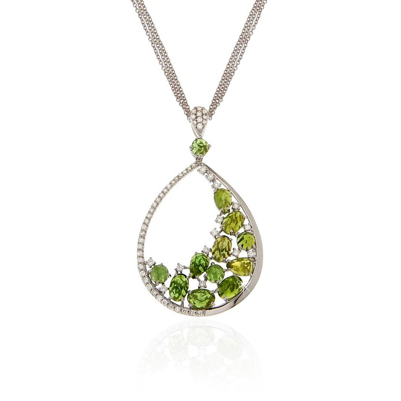 Tourmaline & Diamond Drop Pendant Necklace