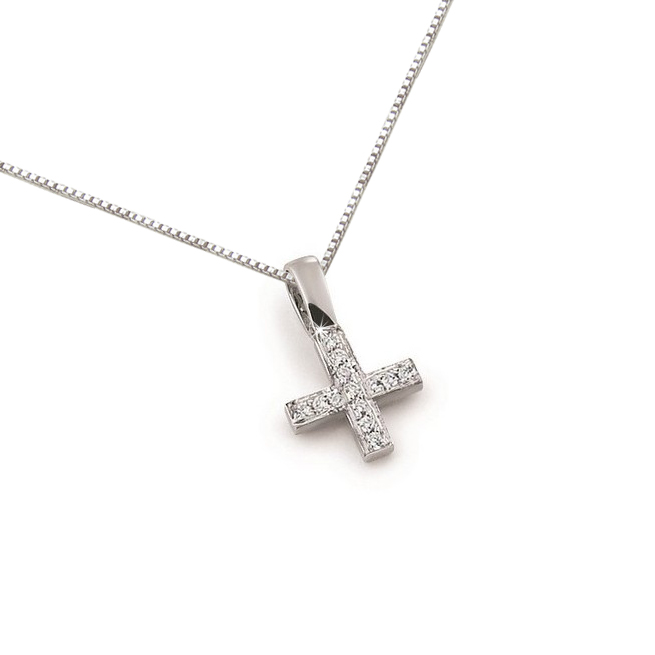 Fancy Square Diamond Cross Necklace 0.07CT