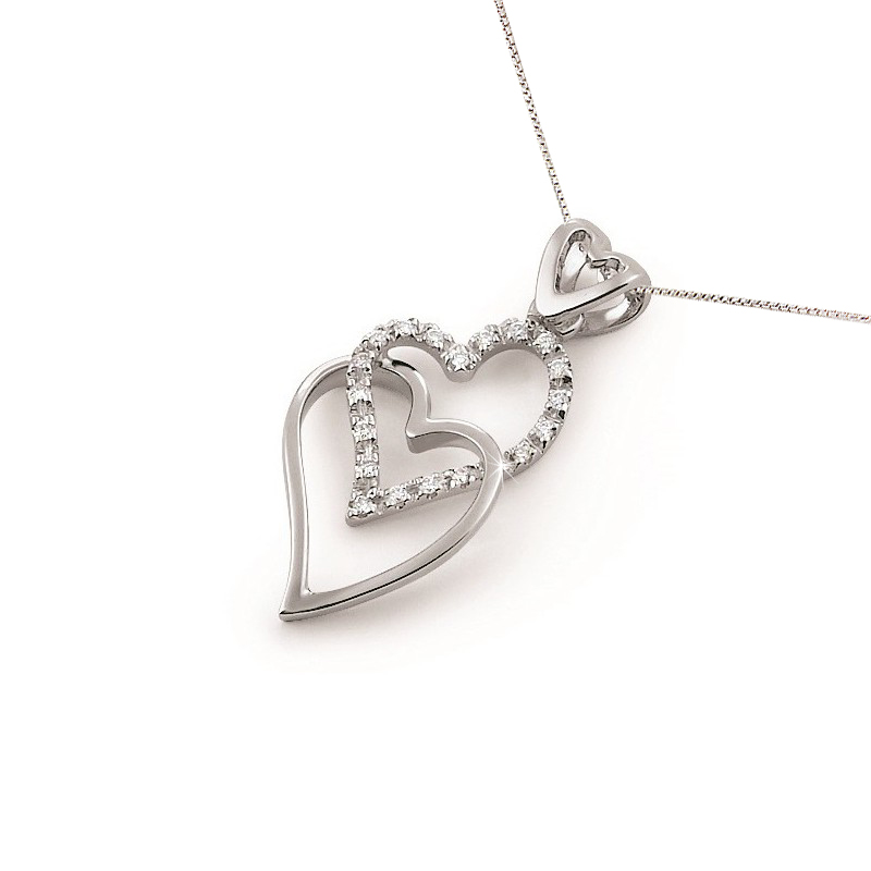 Italian Double Heart Necklace 0.12CT