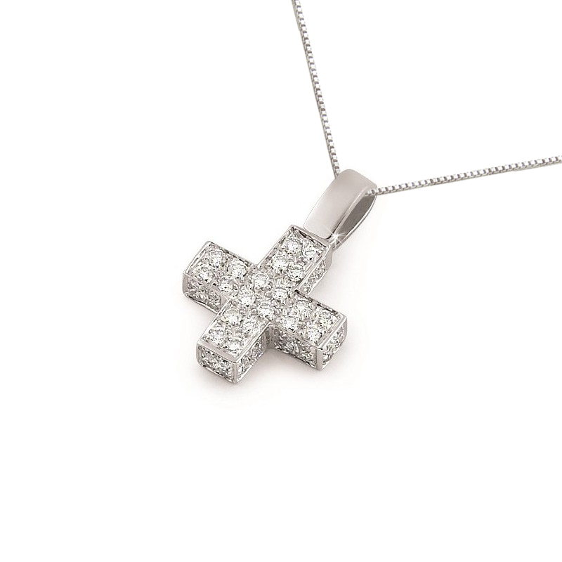 Classic Square Cross Necklace with 3/4CT Diamond Pave