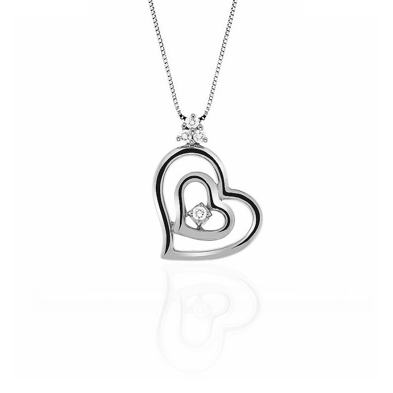 Two Hearts Diamond Pendant Necklace
