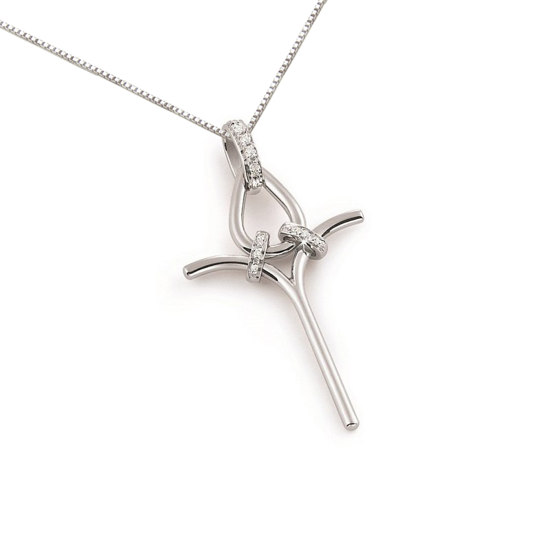 Unique Diamond Cross Necklace in 18 Karat White Gold