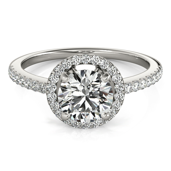 Round Halo Side Stone Sterling Silver Ring w/ 1.4 Carat CZ