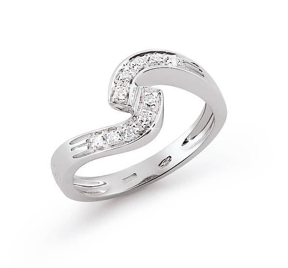 Curved Italian Ring 0.1 Ct Diamond 18K White Gold