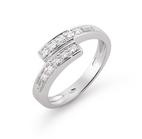 Exquisite Twin Band Wedding Ring 0.1 Ct Diamond 18K White Gold