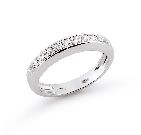 Classic Channel Italian Ring Band 0.09 Ct Diamond 18K White Gold