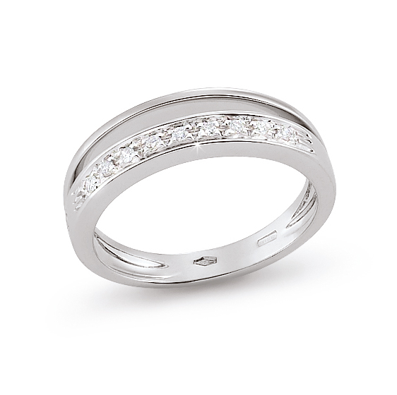 Exclusive Split Band Italian Ring 0.09 Ct Diamond 18K White Gold