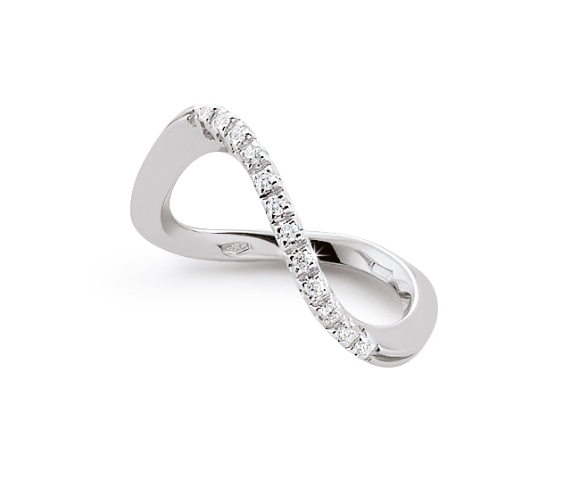 Unique Infinity Italian Ring 0.1 Ct Diamond 18K White Gold