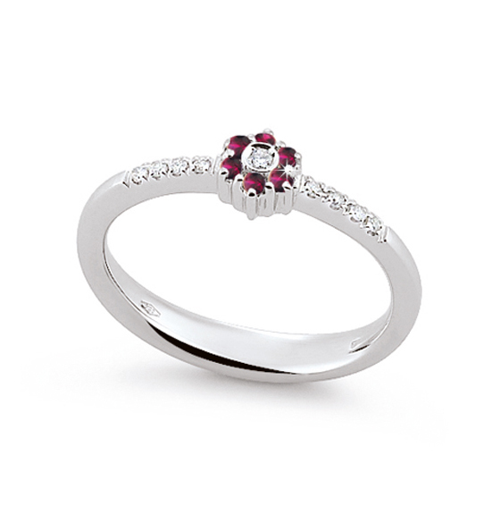 Stylish Ruby Ring Made In Italy 0.05 Ct Diamond 18K White Gold