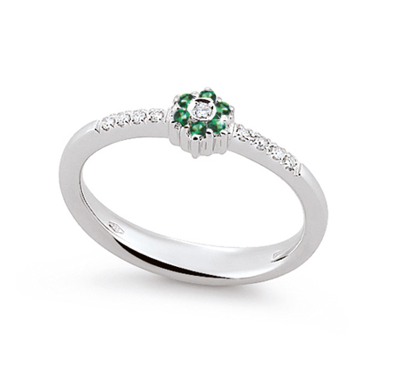 Stylish Emerald Ring Made In Italy 0.05 Ct Diamond 18K White Gold